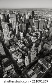 Aerial view of New York cityscape from Manhattan's Midtown East and Upper East Side to Queens in the background. Black & White Vertical New York. Urban view of NY  skyscrapers seen from above.