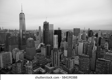 Aerial View of New York Downtown Skyline Black & White