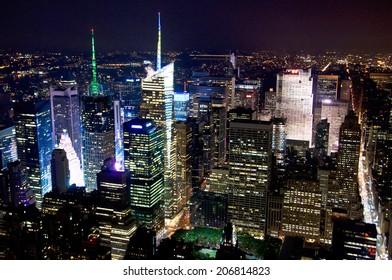 Aerial view of New York Manhattan skyline by night