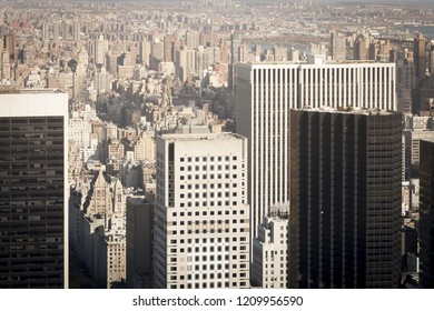 Aerial view of New York skyscraper buildings with a faded retro feel