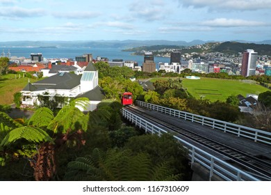 Aerial view of New Zealand Capitol Wellington, from cablecar station