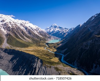 Aerial view of New Zealand landscape in Aoraki Mt Cook, captured by drone.