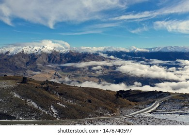 Aerial view of New Zealand Skii Slope mountains