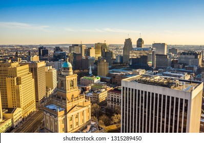 Aerial view of Newark New Jersey skyline on late sunny afternoon