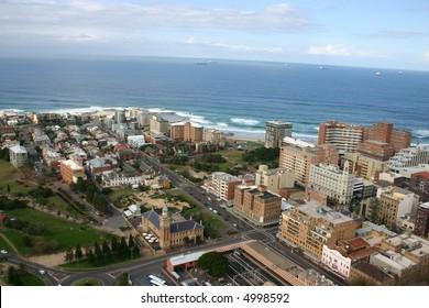 An aerial view of Newcastle Australia.