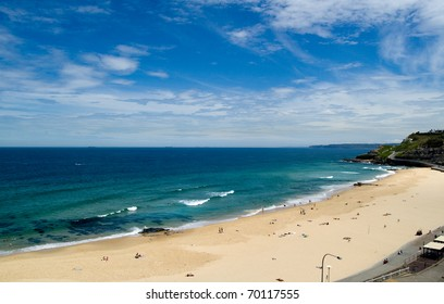 Aerial view of Newcastle Beach; Newcastle, New South Wales, Australia