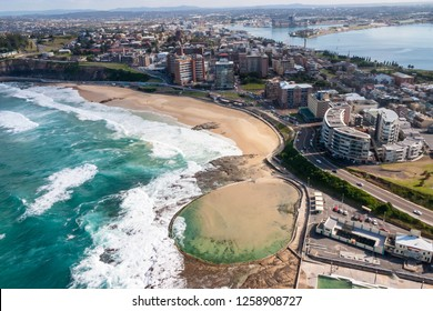 Aerial view of Newcastle Beach and the Newcastle Ocean baths.