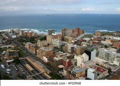 An aerial view of Newcastle CBD area and Newcastle beach in the background.