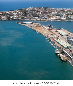 Aerial view of Newcastle Harbour - NSW Australia. Newcastle is a working harbour sending coal and wheat around the world.