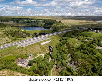 Aerial view of the newly constructed A465 Heads of the Valley road near Ebbw Vale and Brynmawr in South Wales