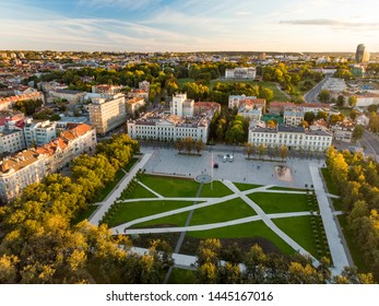 Aerial view of newly renovated Lukiskes square, Vilnius. Sunset landscape of UNESCO-inscribed Old Town of Vilnius, the heartland of the city, Lithuania.
