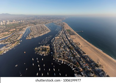 Aerial view of Newport Beach, Balboa Bay and Peninsula in Orange County, California.