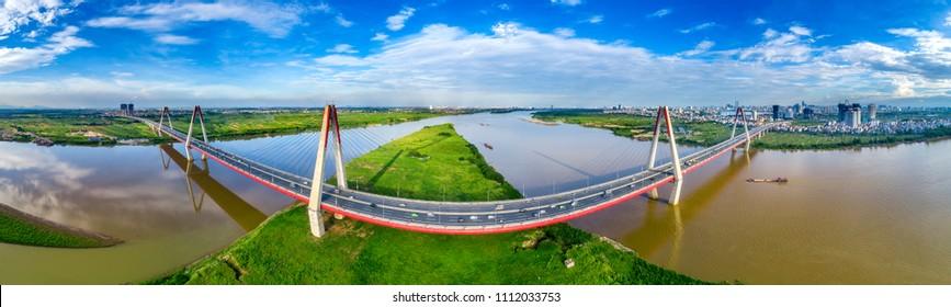 Aerial view of Nhat Tan bridge in Ha Noi, Vietnam. Nhat Tan Bridge is a bridge crossing the Red River. Panorama