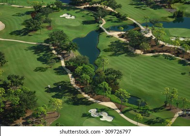 aerial view of nice florida community golf course park