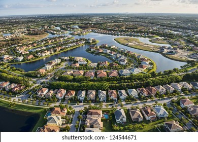 aerial view of nice south florida suburban housing community