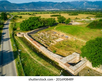 Aerial view of Nicopolis ad Mestum .Ruined Roman town in the province of Thracia (Thrace) near to the modern village of Garmen on the left bank of the Mesta river, in Garmen Municipality - Shutterstock ID 2016908489