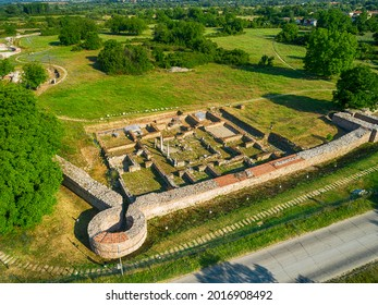 Aerial view of Nicopolis ad Mestum .Ruined Roman town in the province of Thracia (Thrace) near to the modern village of Garmen on the left bank of the Mesta river, in Garmen Municipality - Shutterstock ID 2016908492