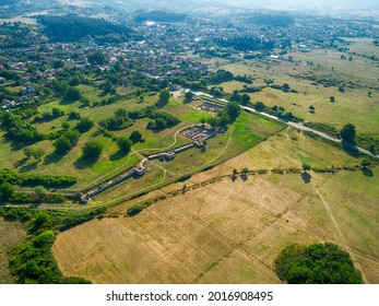 Aerial view of Nicopolis ad Mestum .Ruined Roman town in the province of Thracia (Thrace) near to the modern village of Garmen on the left bank of the Mesta river, in Garmen Municipality - Shutterstock ID 2016908495
