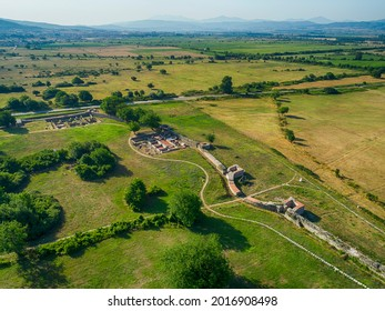Aerial view of Nicopolis ad Mestum .Ruined Roman town in the province of Thracia (Thrace) near to the modern village of Garmen on the left bank of the Mesta river, in Garmen Municipality - Shutterstock ID 2016908498
