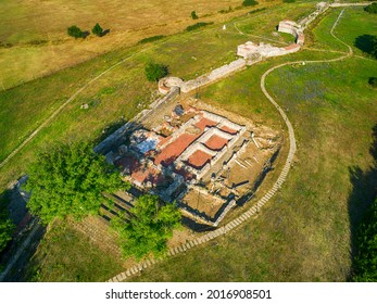Aerial view of Nicopolis ad Mestum .Ruined Roman town in the province of Thracia (Thrace) near to the modern village of Garmen on the left bank of the Mesta river, in Garmen Municipality - Shutterstock ID 2016908501
