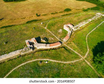 Aerial view of Nicopolis ad Mestum .Ruined Roman town in the province of Thracia (Thrace) near to the modern village of Garmen on the left bank of the Mesta river, in Garmen Municipality - Shutterstock ID 2016908507