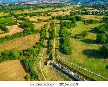 Aerial view of Nicopolis ad Mestum .Ruined Roman town in the province of Thracia (Thrace) near to the modern village of Garmen on the left bank of the Mesta river, in Garmen Municipality - Shutterstock ID 2016908510