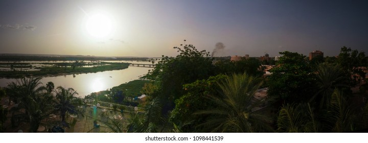 Aerial view to Niger river in Niamey at sunset, Niger