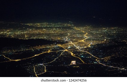 Aerial view of night Athens from the plane.