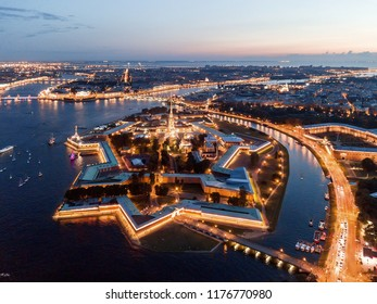 Aerial view of the night city of St. Petersburg