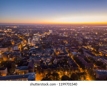 Aerial view of night city Tallinn Estonia