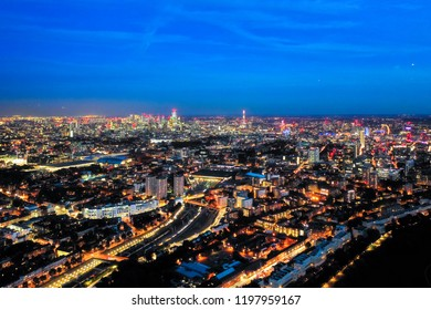 Aerial view night cityscape of London with urban architectures. Icons of the London skyline feat. residential areas such as Euston, Fitzrovia, Marylebone with Central Famous Buildings in England, UK