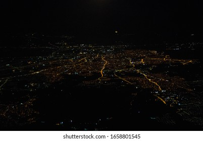 Aerial view of night Larnaca from the plane.