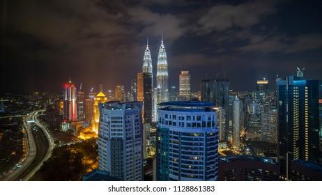 Aerial view of night scene at Kuala Lumpur city skyline