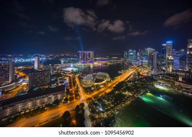 Aerial view of night scene at Singapore Marina Bay city skyline
