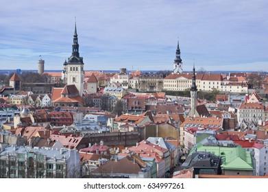 Aerial view to Niguliste church and Toompea (upper city) of Tallinn, Estonia