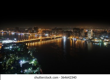 Aerial view of Nile river and bridge Cairo Egypt at night
