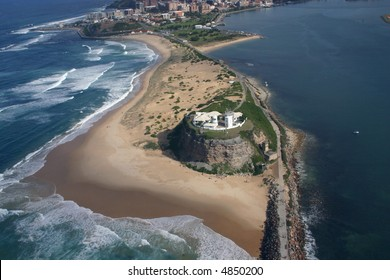 Aerial view of Nobbys Lighthouse - Newcastle Australia. A prominent local landmark.