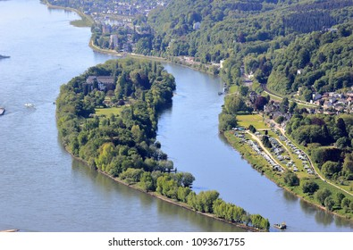 Aerial view of Nonnenwerth Island near Bonn, Germany.