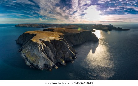 Aerial view of Nordkapp (North Cape) in the extreme part of Norway over the blue sea