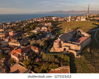 Aerial view of the Norman Swabian castle, Vibo Valentia, Calabria, Italy. Overview of the city seen from the sky, houses and roofs