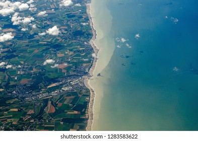 Aerial view of the Normandy coastline with the town of Le Treport in Seine Maritime towards the middle of the picture.