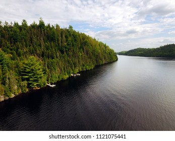 Aerial view of a North American river, Saguenay, Quebec, Canada