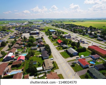 Aerial view of North American small rural town
