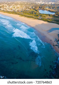 Aerial view of North Curl Curl beach in the morning.