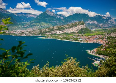 aerial view of the north of Garda lake with Nago-Torbole and Riva del Garda, Italy