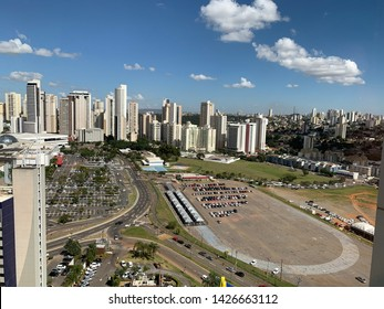 Aerial view of north of Goiania with several commercial and residencial builings and a shopping mall. Goiania, Goias, Brazil