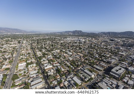 Aerial View North Hollywood San Fernando Stock Photo (Edit