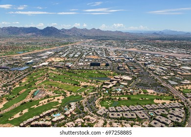 Aerial view of North Scottsdale near the Scottsdale Airport looking east toward the McDowell Mountains