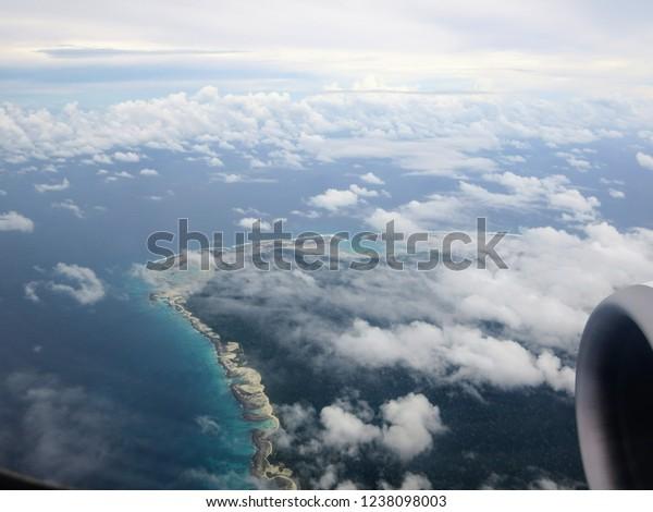 Aerial view of North Sentinel Island, Andaman.