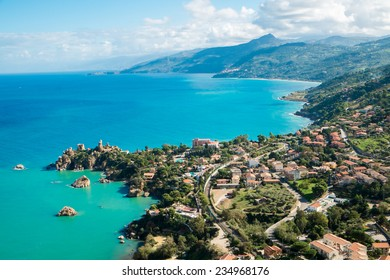 Aerial view of north Sicily coast from Cefalu, Italy